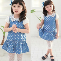 2013 child children girls clothing lace legging dot one-piece dress twinset set