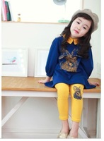 2014 spring new arrival children's clothing cartoon rabbit head three quarter sleeve trousers set