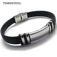 TSB076726 Fashion Men's Bracelet 316L Stainless Steel Silicone Bracelet