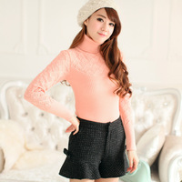 Sweet candy color long-sleeve turtleneck pullover sweater autumn and winter female all-match basic sweater