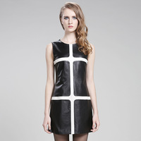 Slim Fit Women's Elegant Genuine Sheepskin Leather Patchworked Dress For 2014 Spring & Autumn New Fashion Europe Style
