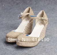 Free shipping 2014 spring wedges single shoes pointed toe bandage hemp rope