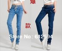 New women/lady denim harem pants female baggy elastic high waisted jeans trousers stripe patchwork slacks plus size drop crotch