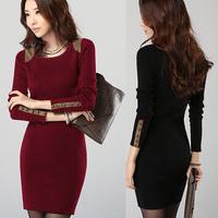 Spring 2014 plus size slim hip slim one-piece dress long design plus velvet thickening female long-sleeve basic shirt