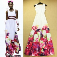 Free Shipping 2014 New Europe Fashion Woman Flower Printed Bohemian Long Dress Beach Maxi Dresses F15811