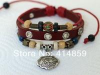 457 Men's red leather bracelet Long life and prosperity | Safe journey Chinese lock charm bracelet Friendship bracelet gift