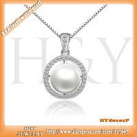 100% allergy free top quality silver jewelry by H&Y  fresh water pearl necklace pendant buy one get  one free fine silver chains