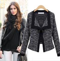 2014 ZA  New Hot Fashion women's clothing Black White Long Sleeve Lace Knitting Jacket Outerwear Women Plus Size S-XL Free Ship