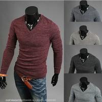2014 Brand new fashion mens t shirts casual long sleeve t shirts high quality men's shirt  T33