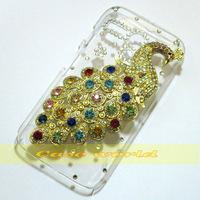 1 Pcs Handmade Bling Pretty Peacock Clear Transparent Hard Back Case For Motorola Moto G XT1028 XT1032 XT1031