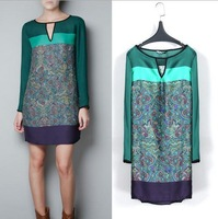 Fashion Lady Green Chiffon Long Sleeve Women Floral Casual Dress S/M/L BF11
