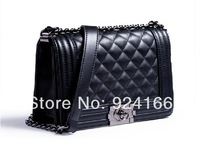 2014 New Trend Plaid Chain Handbag Leboy PU Leather One Shoulder Bag Brand Fashion Messenger Handbag