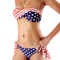 2014 Hot Summer Women Swimming suit Hot Sexy STARS and STRIPES USA Flag Bikini set American swimwear
