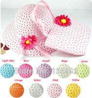 Hotsale 5pcs/lot Lovely Kids Girls Children Straw Sun Summer Beach Hats Caps And Cute Straw Totes Handbag Set Wholesale