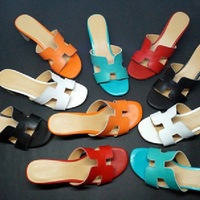 2014 Summer New Sandals,thick Heel 6cm high heel genuine leather fashion Candy color H buckle women beach slippers 7colors