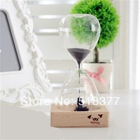 Free Shipping Birthday gift magnet bottle magnetometric hourglass timer time decoration sand hourglass wood wooden