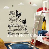 Free Shipping Black Butterfly with a butterflu kiss Ladybug Hug Quote Wall Sticker Art Vinyl Decal Baby Room Bedroom Mural Paper