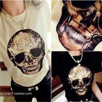 Patchwork skull o-neck slim t shirt Women short-sleeve t-shirt e03