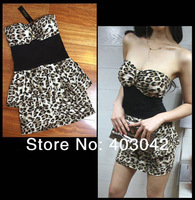 2014 Fashion New Free shopping Fitted Low-cut Leopard Sexy Mini Bodycon Clubwear Mini  Dress Chest Wrapped