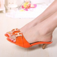 2014 Summer Cowhide H Buckle Slippers,Red Black Orange Patent Leather Women Fashion Leisure Beach 5cm Low Heel Sandals Slippers