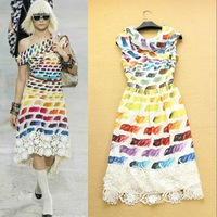 2014 Luxury Runway Fashion Women's Turtleneck Rainbow Stripes Lace Patch Boutique Dress Over the knee  Designer Dresses F15832