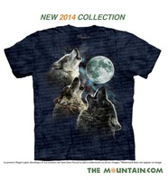 2014 New Style Women/Men's 3D T Shirt USA Famous Brand The Mountain  3D Three Wolf Moon Men Short Sleeves T-Shirt  K-105