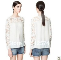 2014 spring fashion lace knitted patchwork cutout flower chiffon shirt lace shirt basic shirt female XL Free Shipping