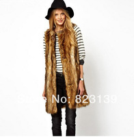 Spring New Brand 2014 Women'S European And American Fashion Leather Vest Women Long Section Of Grass Trend Maga#0129