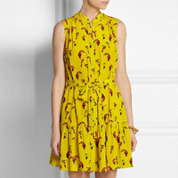 New In Spring Fashion Women Sleeveless Printed Yellow Shirt Dress Belted Casual Summer Dresses Plus Size XXL Wholesale DY272