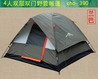 Outdoor camping tent 4 double layer waterproof adhesive camping tent the whole network hot-selling