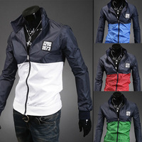 The new 2014 men thin coat lapels, fashionable man leisure color matching jacket