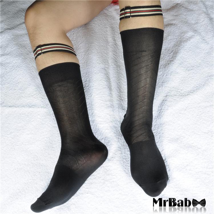 W037-Men-s-Dress-Socks-Men-At-Play-Suit-Socks-Black-Silky