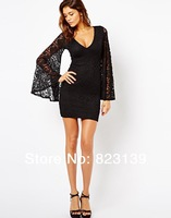 2014 brand spring summer party dresses sexy cute fashion slim lace long sleeve XS-XXL black women's Casual V-neck dress#0132