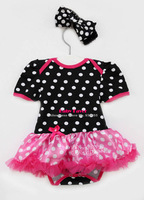 Free Shipping  Infant Baby Girls Newborn Headband+Jumpsuit Bodysuit Tutu Skirt Polka Dot Black Hot Pink Clothes Outfit Set Suit