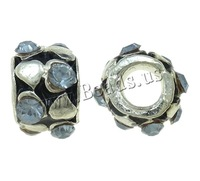 Free shipping!!!Zinc Alloy European Beads,Newest Design, Drum, silver color plated, without troll & enamel & with rhinestone