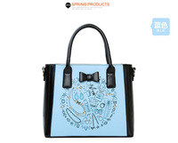 2014 New Arrival Fashion Woman Shoulder Bag Print Square Handbags Bow Decor PU Leather Messenger Bags Three Colors