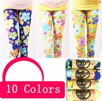 Free shipping 20pcs/lot 2014 new baby girls leggings girl candy color flower print girl legging