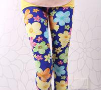 Free shipping 10pcs/lot 2014 new baby girls leggings girl candy color flower print kids leggings