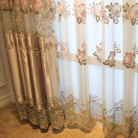 Quality embroidery window curtain high quality double layer