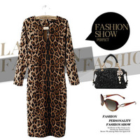 2014 new style spring dress autumn dress women's leopard print elastic dress sexy hot dress