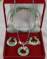 New Listed Jade Bangle Bracelet Pendant Earring Jade Jewelry Set