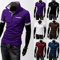 Free Shipping 2014 New Men's Casual Short-Sleeve Slim Fit Stylish Fashion Camisas T Shirt Tops & Tees