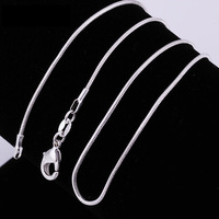 2014 New ! 1mm,2mm snake chain  Wholesale Free shipping 925 sterling silver snake chain necklace.fashion jewelry .