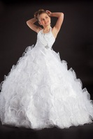 Halter Court Train Organza White Ball Gown Girls Pageant Dress