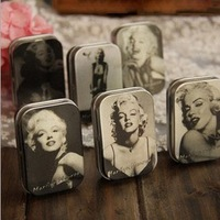 Free shipping Clasic Primary Color Marilyn Monroe 5.8*3.8*1.6cm Storage Iron Case Tin Box