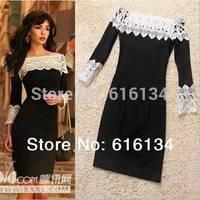 Free shipping! Newest Fashion 2014 Runway Dress Hot Sale Women Cotton Knit Slim Dress Sexy Lace Slash Neck Dress