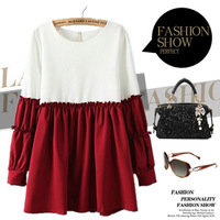 2014 spring dress patchwork dress girl dress puff sleeve women clothing for spring cute and brief