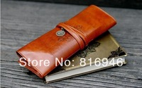 Creative stationery Retro high-capacity pencil pouch ,pen bag, twilight leather pen case, cosmetic bag Free shipping