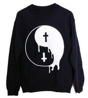 EAST KNITTING AA-149 2014 hot sale Punk Women hoodies London Boy Punk Taiji Yin Yang Cross sweatshirts plus size Free shipping