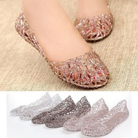 2014 Soft Women Summer Flat Shoes Galoshes Hollow Out Bird's Nest Flat Sandal Pink Silver Coffee Size 35-40